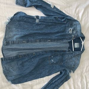 Distressed light weight jean jacket